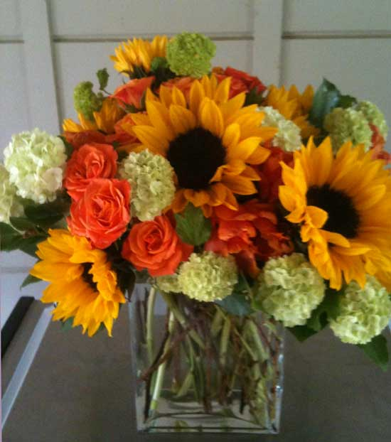 Happy Sunflower arrangements delivered in Marin